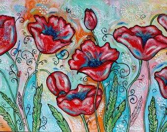 Red Poppies poppy Spring Texture Colorful Painting Flowers Floral Douthit Art FREE ship