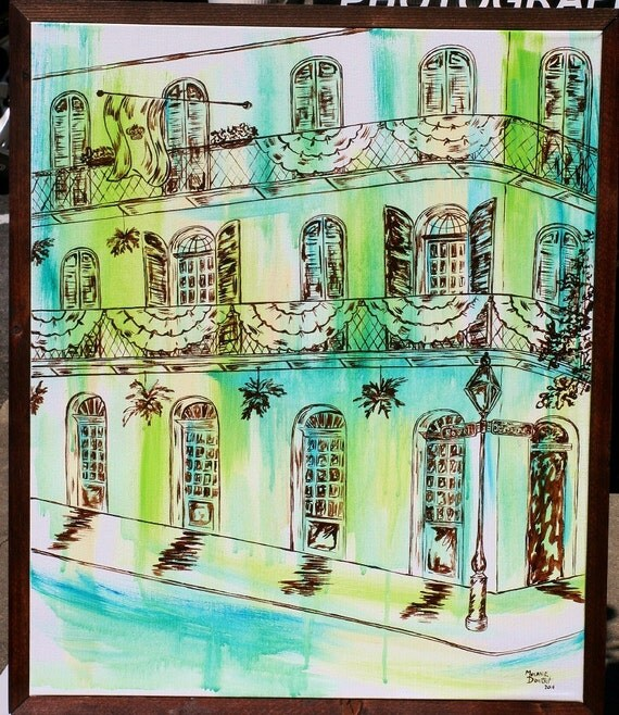 French Quarter Mardi Gras Balcony Green Blue New Orleans Original Painting Melanie Douthit Art