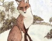 Print Red Woodland Fox in a Forest
