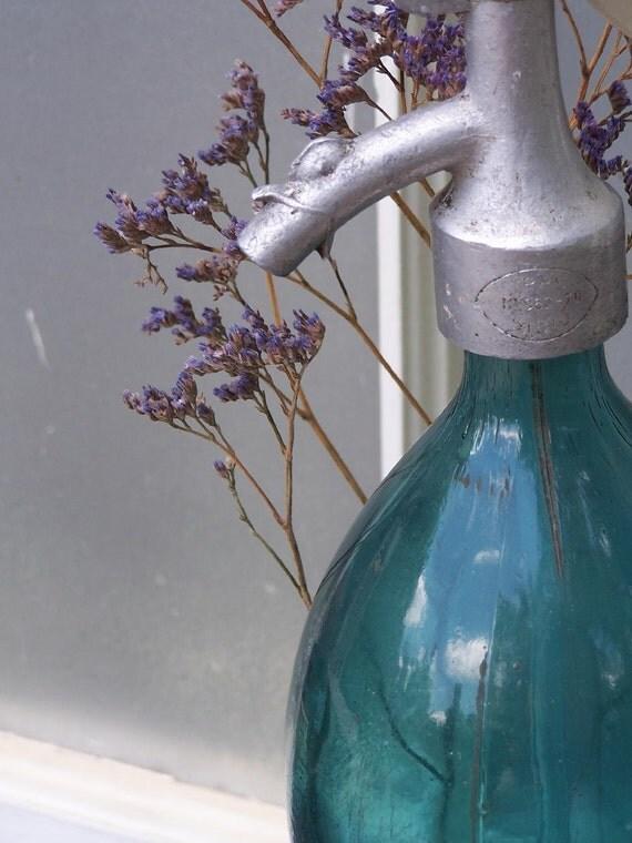 Vintage Romanian Ocean Blue Seltzer Bottle