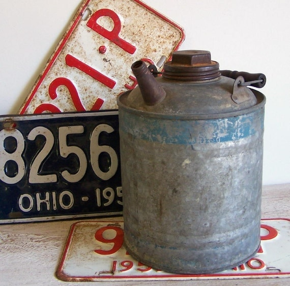 Galvanized Blue Band Gas Can - Spring Sale