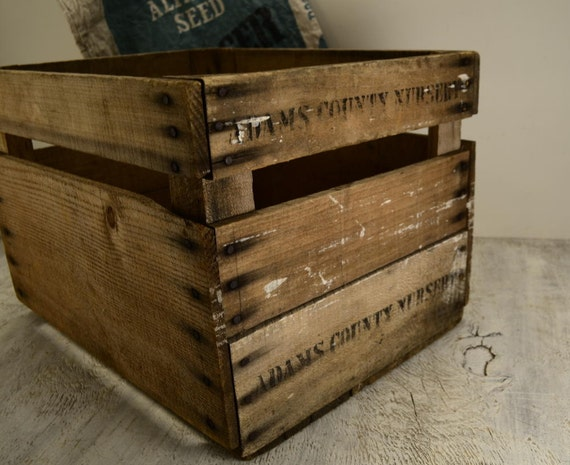 Old Wooden Orchard / Nursery Box Crate