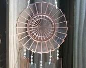 Vintage Pink Depression Glass Saucer Windchime