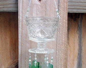 Vintage Big Top Peanut Butter Jar Upcycled into a Windchime with Stained Glass Chimes