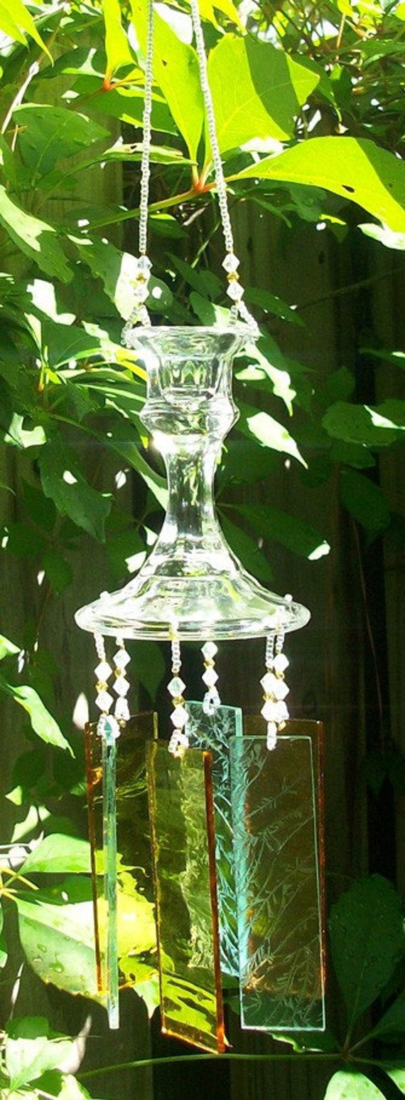 Vintage Candlestick Upcycled into a Windchime, Pale Yellow Stained Glass Chimes