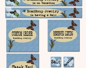 Custom etsy shop banner set 9 pieces: Banners, Avatars and Placeholders