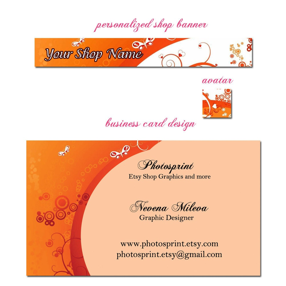Premade Etsy Shop Banner and business card set by photosprint