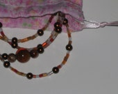 Autumn Color Short Bugle Beads and Congac Pearl Eyeglass Chain / Necklace / Leash