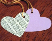Set of 6 Upcycled Recycled Interest Amortization Backed Lavender Heart Tags with Peach Floss