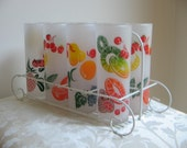 Vintage Fruit Drinking Glasses Frosted Set of 8 Federal Glass - Mid Century MAD MEN