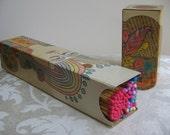 Vintage MOD Match Box Fireplace Matches, Colorful Match Sticks, Psychedelic Hippie Art, Japan 1971