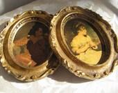Vintage Girl Boy Portrait Gold  Florentine Frames, Ornate Wall Art