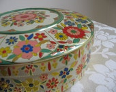 Vintage Tin Metal Floral Container Large,  Embossed Enamel FUNKY Mod Flowers, Holland Folk Art