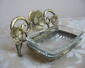 Vintage Cast Metal Gold Flower Glass Soap Holder Trinket Dish, Starburst Pattern