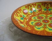 Vintage Tangerine Orange Yellow Turquoise Metal Bowl by Daher, Psychedelic Kaleidoscope Mandala, Boho Chic, England