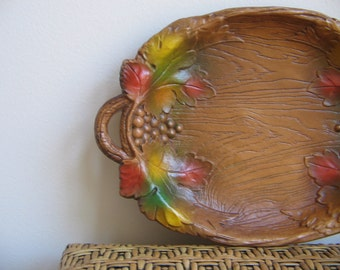 SALE Vintage Rustic Tray with Autumn Leaves Grapes by Multi Products, Faux Bois Wood Grain, Woodlands Cabin Naturalist Decor