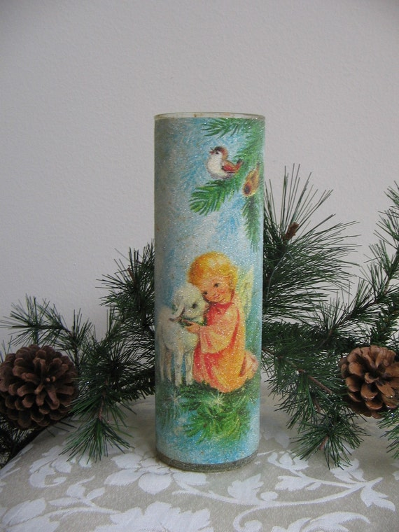 Vintage Christmas Angel Frosted Glass Candle Holder Sparkly