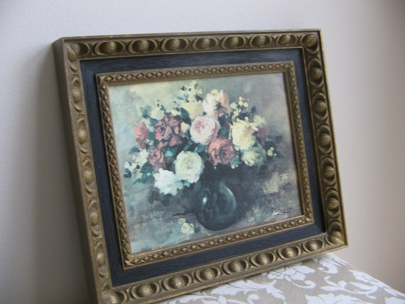 Vintage Floral Wall Art Print Burwood Products1969, Rose Pink Flowers Vase, Black Gold Frame, Shabby Cottage French Country