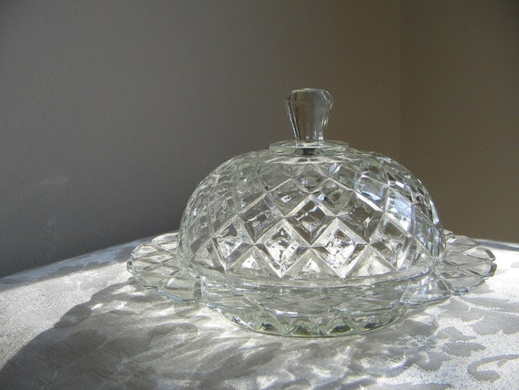 Vintage Glass Dome Covered Dish Bowl Diamond Pattern Butter