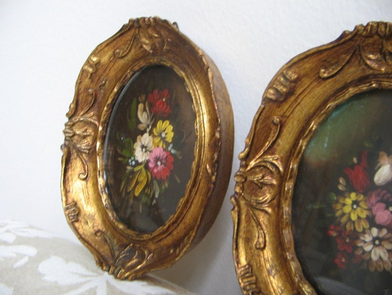 Vintage Floral Paintings Oil Tara Productions Ornate Gold Frame Italy Set