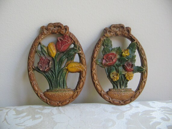 Vintage Flowers Potted Floral Wall Art Plaques, Set of 2, Shabby Cottage