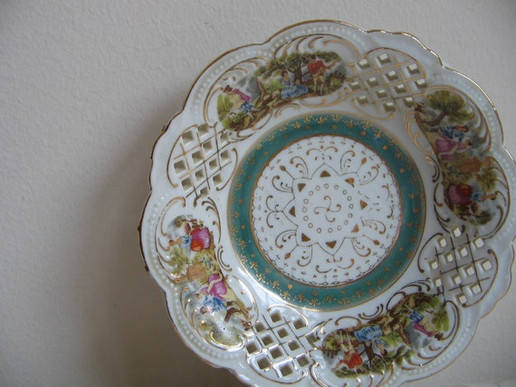 Vintage Porcelain Bowl Dish With Reticulated Scalloped Edge, Ornate French Fleur de Lis, White Teal Gold, Romantic Man Woman Garden