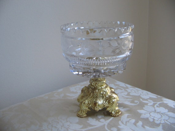 Lausitzer Crystal Pedestal Bowl Hand Cut with L & LWMC Gold Metal Base Germany, Hollywood Regency, Paris Apartment EXQUISITE