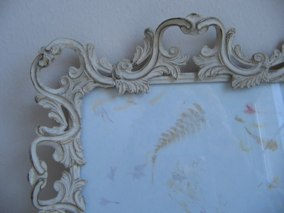 Vintage Iron Picture Frame Ornate White Gold Scrolls Flourish FABULOUS