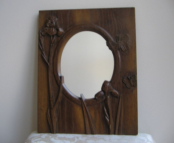 Vintage Mirror Wood Carved Iris Flowers Butterflies Rustic Handmade