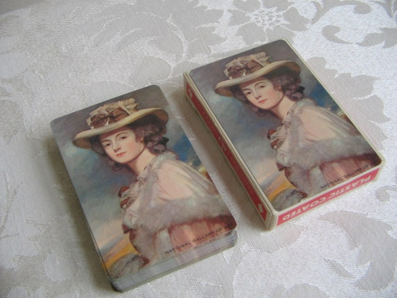Vintage Deck Playing Cards Pink Woman Hat Capelet, Bridge Size Box, Starcrest, National Gallery of Art USA