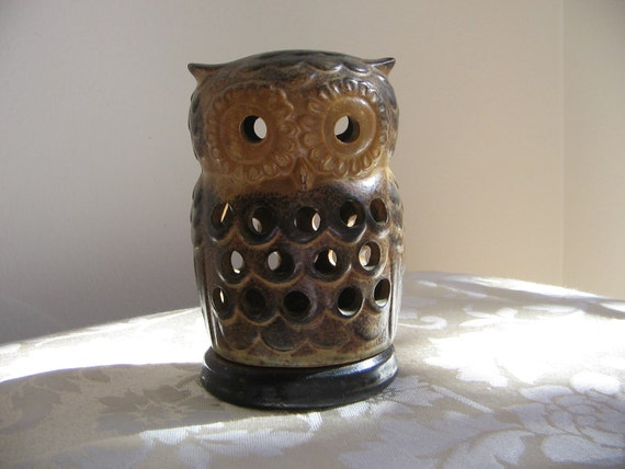 Vintage Owl Candle Holder, Ceramic Pottery, Bohemian Hippie Rustic 1970's