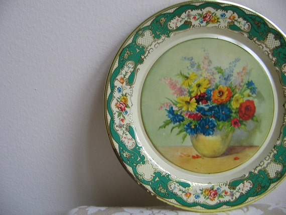 Vintage Daher Floral Tin Tray Plate, Metal Round, Holland, Flowers Vase, Emerald Green Gold