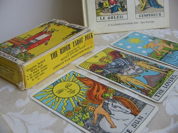 "Rider Tarot Card Deck 1971 Complete Instruction Booklet, BONUS ""Tarot Cards For Fun and Fortune Telling"" Book"
