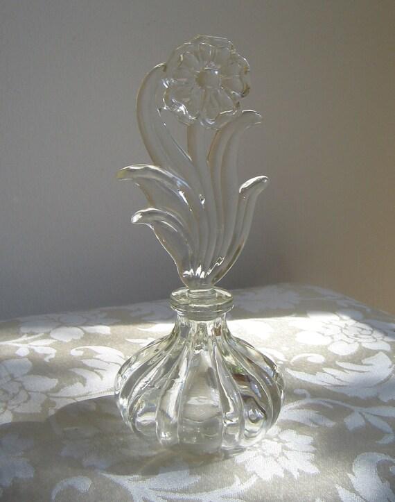 Vintage Perfume Bottle Clear Glass, Sculptural Graceful Flower