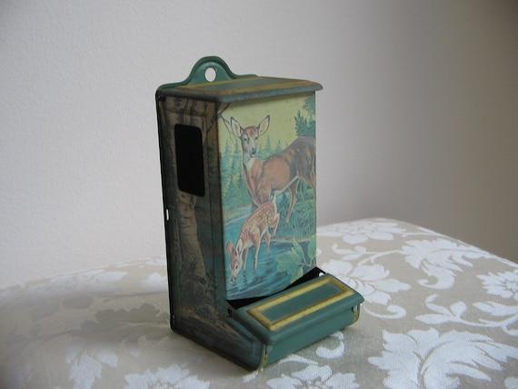 Vintage Match Holder Match Safe by Jasco, Green Metal Tin Deer Fawn, Rustic Cabin Woodlands Wall Decor