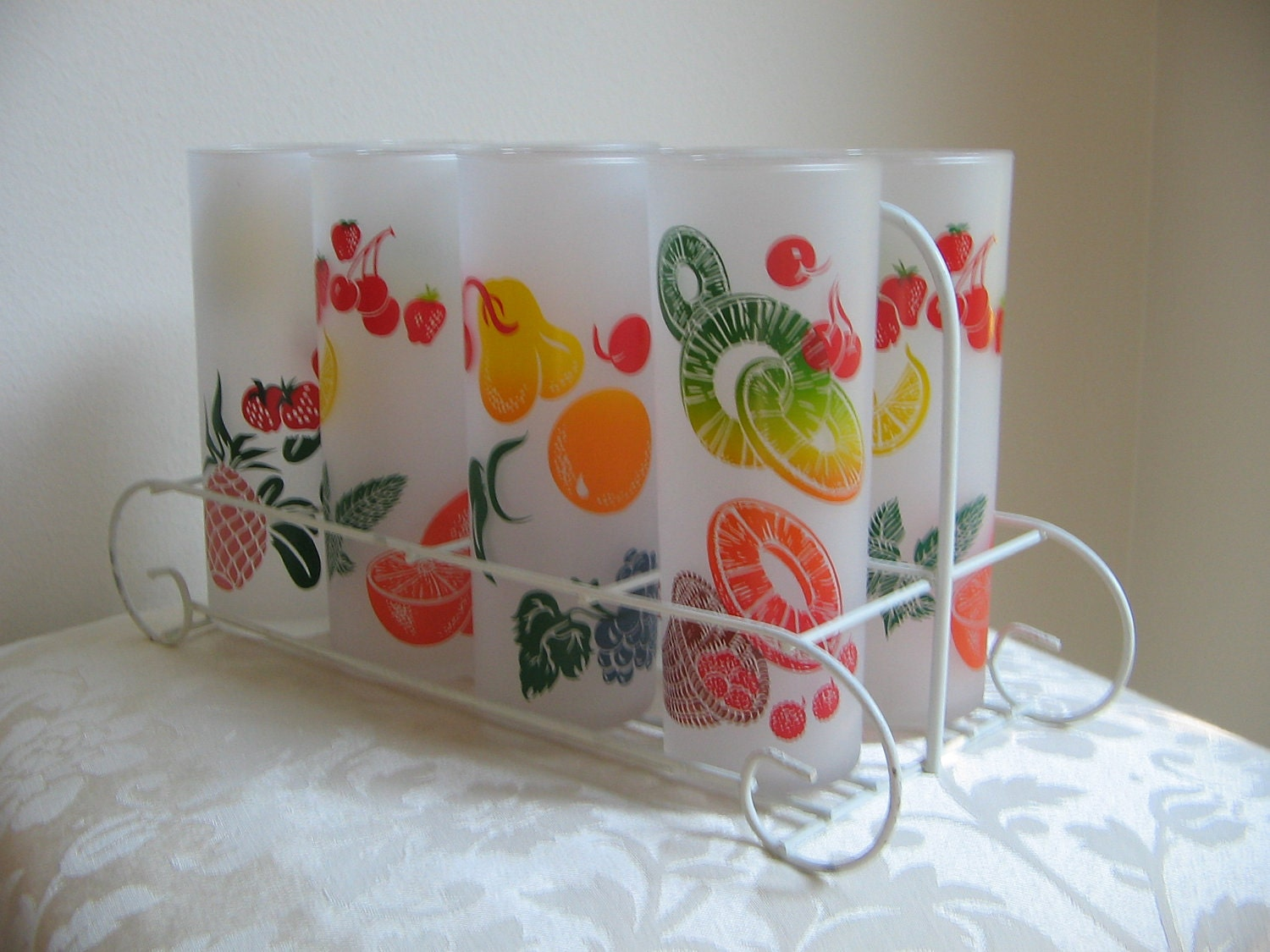 Vintage Fruit Drinking Glasses Frosted Set Of 8 Federal Glass