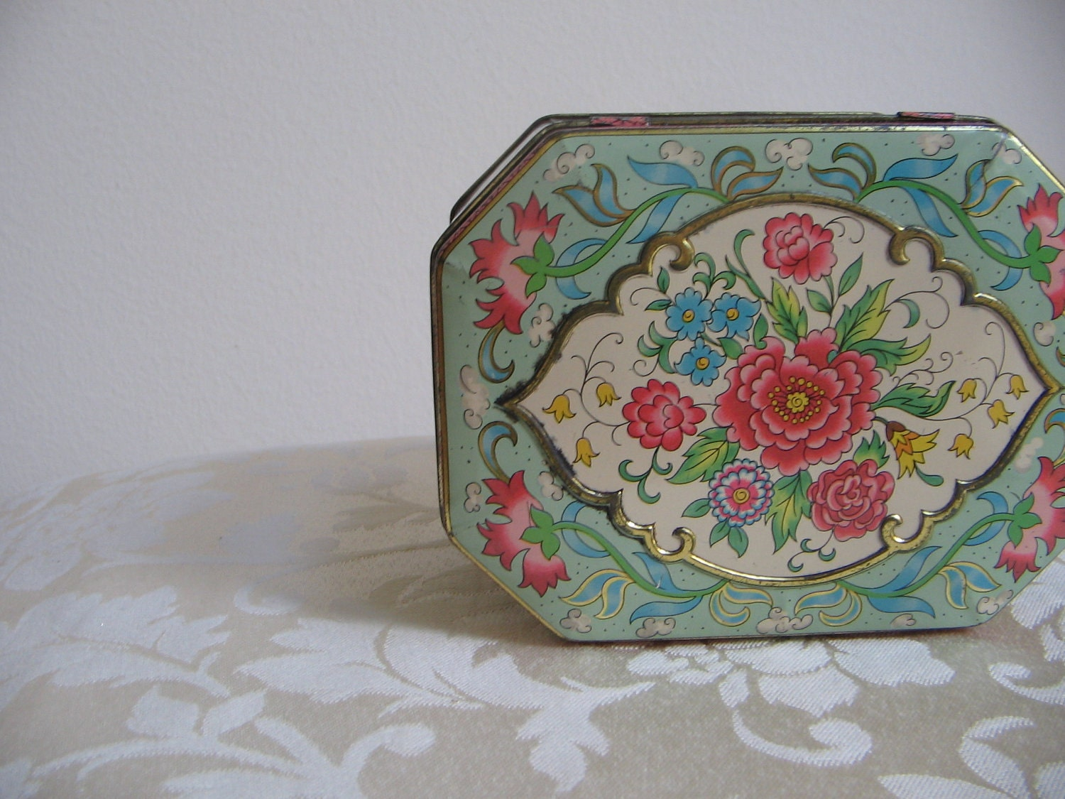 Vintage Daher Metal Tin Box Container Floral By