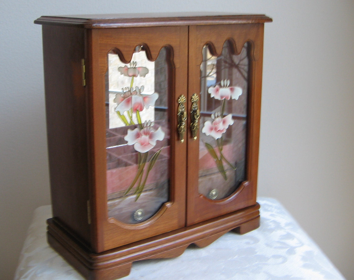 Vintage Mele Jewelry Box Armoire Wood Glass Gorgeous