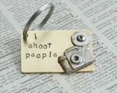 Hand Stamped Brass Keyring With Camera - I Shoot People By Inspired Jewelry Designs
