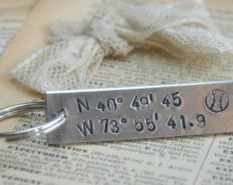Hand Stamped Longitude Latitude Key Ring - Customized With Your Favorite Baseball Stadium