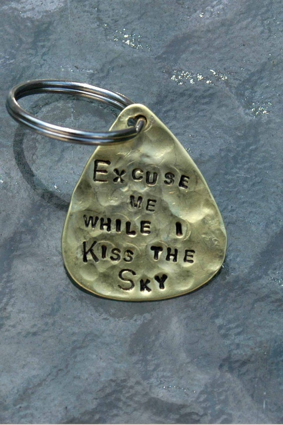 hand stamped brass guitar pick keyring excuse me by ijdbynoelle. Black Bedroom Furniture Sets. Home Design Ideas