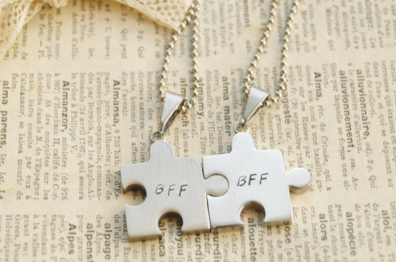 Hand Stamped Puzzle Piece Necklaces - BFF, Best Friend, Stainless Steel By Inspired Jewelry Designs