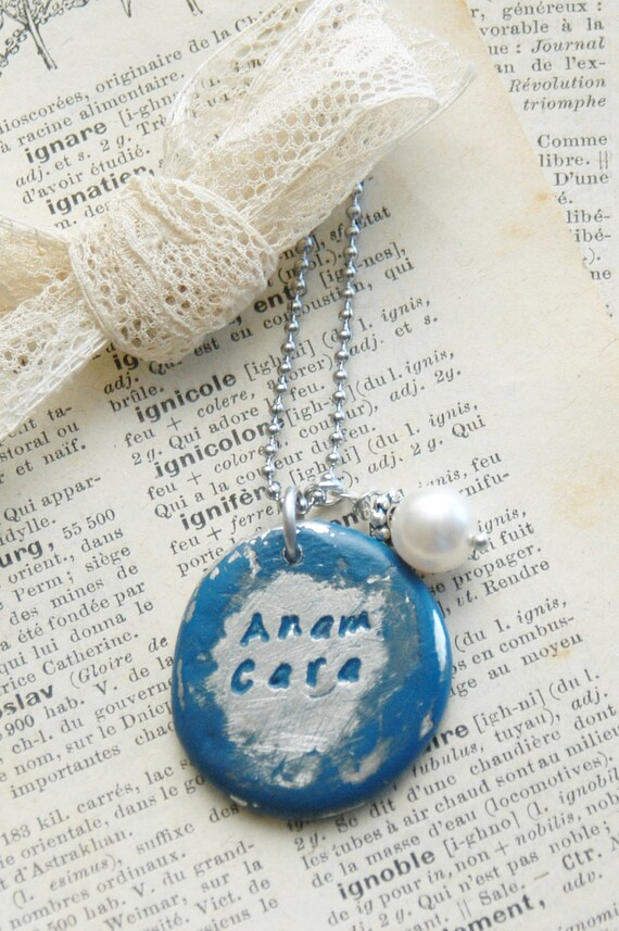 Hand Stamped Friend Pendant - Anam Cara, Soul Friend By Inspired Jewelry Designs