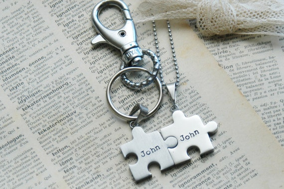 Hand Stamp Stainless Steel Puzzle Necklace And KeyChain Combo - Perfect For Couples, BFF, Parent/Child By Inspired Jewelry Designs