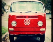 retro home decor vintage car midcentury americana boho blue beach -  Red VW Bus - 8x8 Fine Art Photography Print