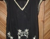 1960's style embroidered vintage tank size small