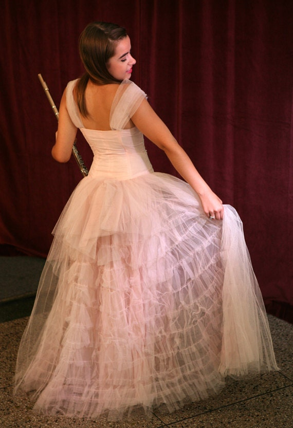 LAYAWAY BALANCE for Cheryl Blackwell: Vintage 50s Pink Party/Prom/Wedding Gown in Tulle, XS