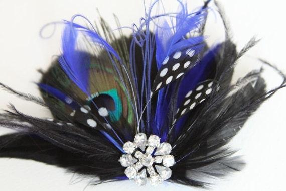 Blue Black Peacock Feather Fascinator, Wedding Fascinator Hairclip
