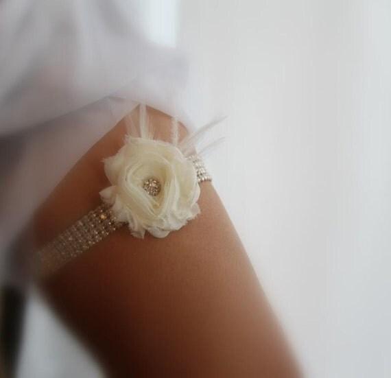 Wedding, Bridal Garter Rhinestone Ivory Garter
