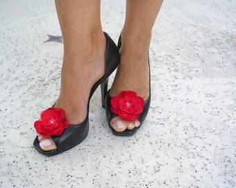 Elegant Poppy Red Shoe Clips